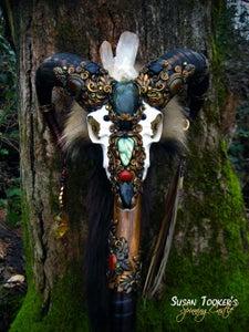 Image of SACRED RAM - Pagan Skull Staff Shaman Totem Magick Walking Stick