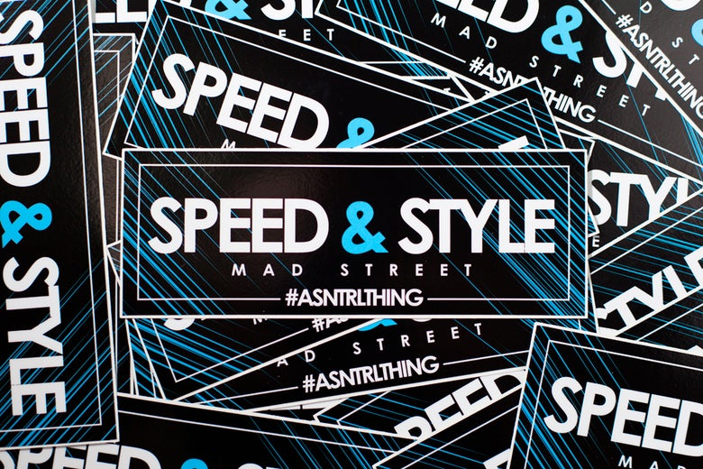 "Image of SNTRL ""Speed and Style"" Box Sticker."