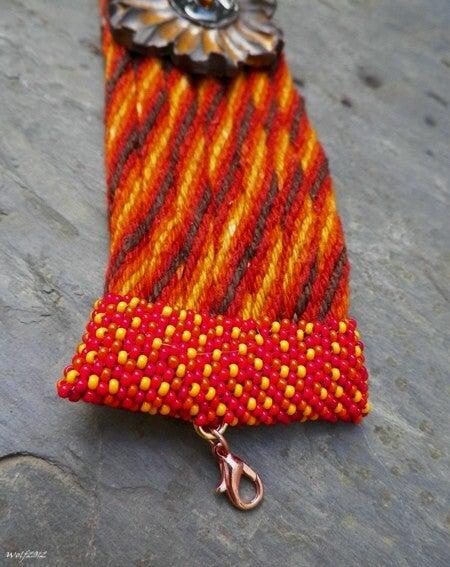 Image of SALE! Autunno Fiore handmade kumihimo cuff