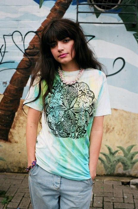 Image of Hand Dyed T-shirt with Mandala Screenprint