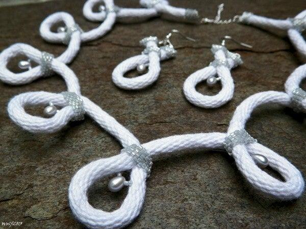 Image of SALE! White As Snow, handmade kumihimo set