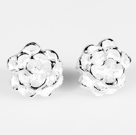 Image of Oorstekers bloem, oorbellen Antwerpen, zilver, handgemaakt, juwelen op maat