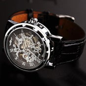 Image of Men's Vintage Watch / Handmade Watch / Chain Hollow Out Mechanical Watch (WAT0041-Black)