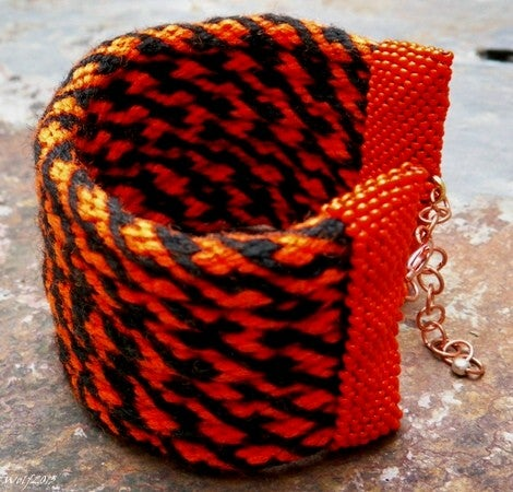 Image of SALE! Tiger Burning Bright, handmade kumihimo cuff