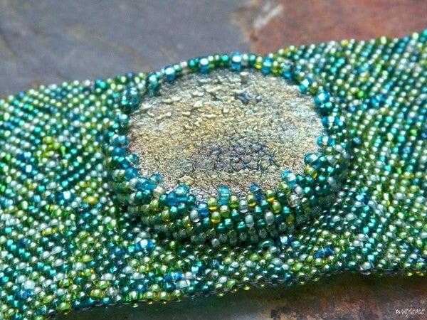 Image of SALE! DragonSkin, handmade beadwork cuff with raku cab