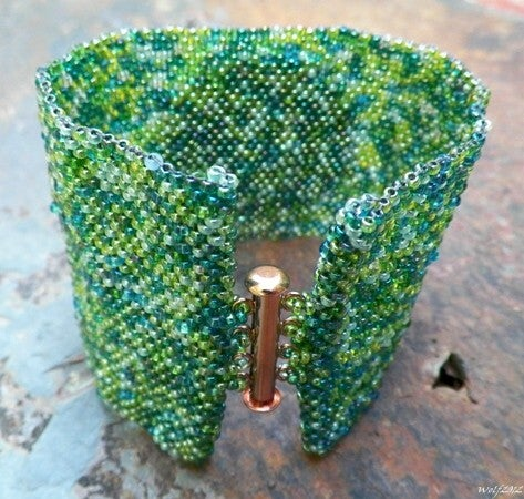 Image of SALE! DragonSkin, handmade beadwork cuff with raku cab