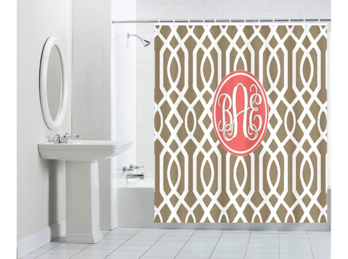 Peronalized Monogrammed Shower Curtain Polkadots N Whatnots