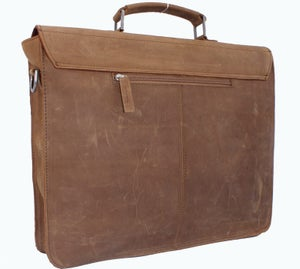"Image of Vintage Handmade Crazy Horse Leather Briefcase Messenger 13"" 15"" MacBook / 13"" 14"" Laptop Bag (n89)"