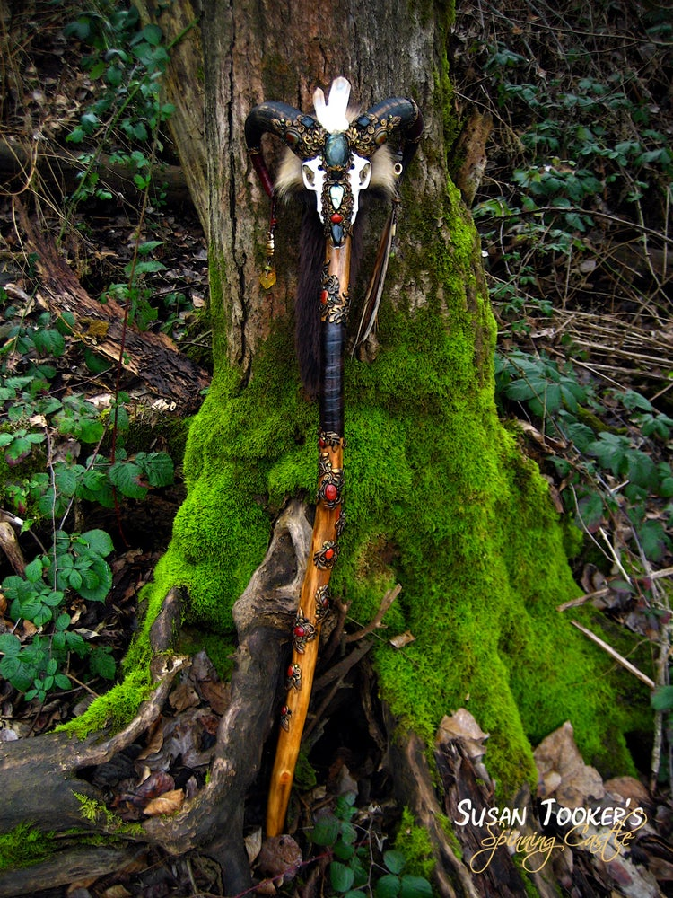 Image of SACRED RAM - Pagan Skull Staff Shaman Totem Magick Walking Stick