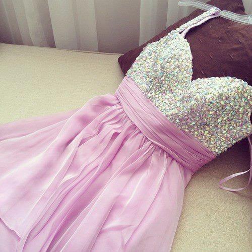 Image of Wholesale A-line Spaghetti Straps Chiffon Short/Mini Purple Crystal Party Dress