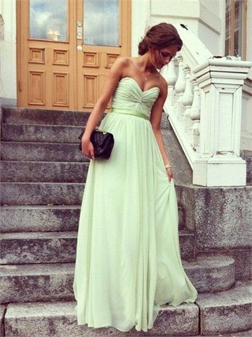 Image of A-line Sweetheart Floor-length Chiffon Prom Dress