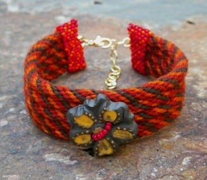Image of SALE! Autumn I, handmade kumihimo cuff