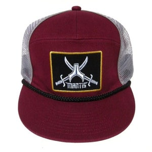 Image of SIGNATURE 5 PANEL BURGANDY SNAPBACK