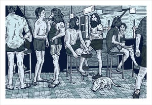 Image of RENNIE ELLIS 'AT THE PUB, BRISBANE 1982' Print (Blue)