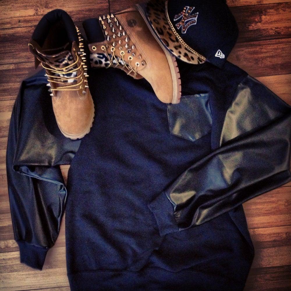 Image of Leather pocket/sleeve sweater Crewneck