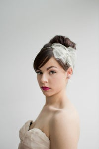 Image of Elina Antique Chantilly Silk Lace Bow