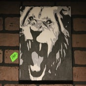 Image of Lion roaring custom painting by  Chris G from san diego california