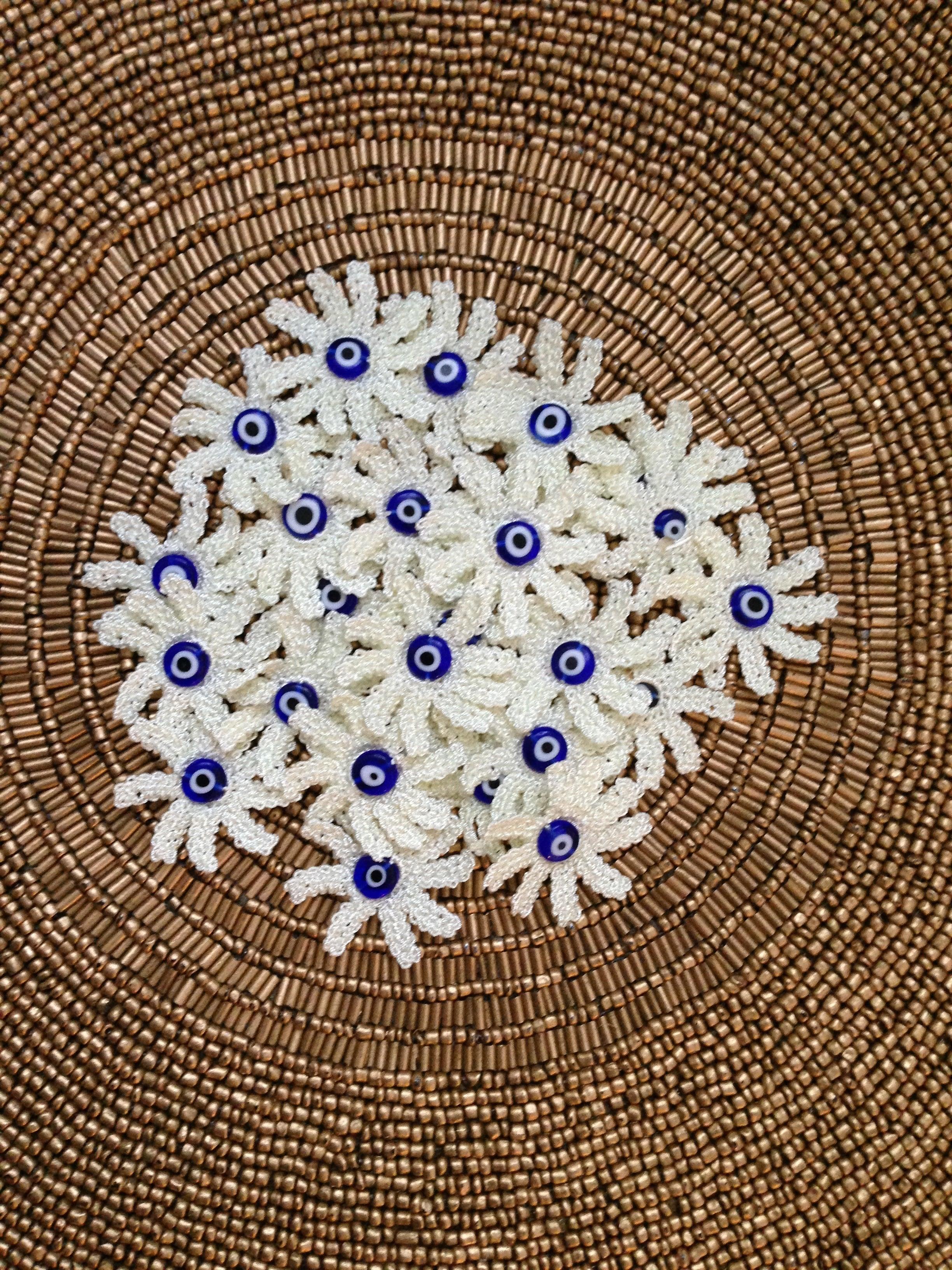 harmony oya embroidery with evil eye bead center mavi