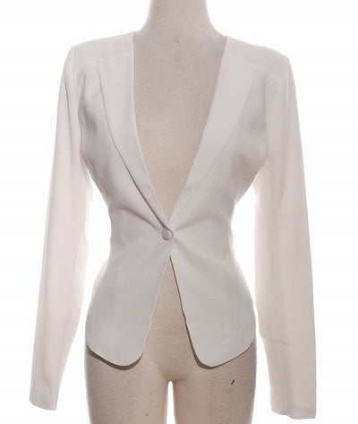Image of White Zipper Back Blazer