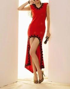 Image of V-Neck Red Sleeveless Dress