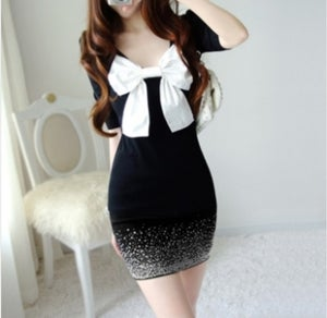 Image of Bowtie Knitted Mini Dress