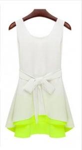 Image of White & Fluorescent Green Tie Tank Shirt