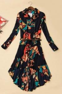 Image of Pleated Turndown Collar Longsleeve Dress