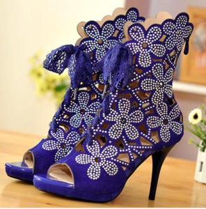 Image of Flower Hollow-Out Stiletto Suede Ankle Boots