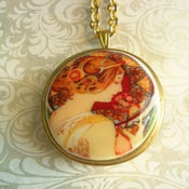 "Image of Cameo Miniature Music Box Locket ~ Mucha ""Primrose"""
