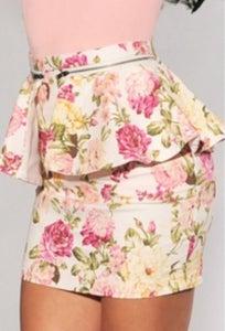 Image of Floral Print Polyester Sheath Mini Skirt