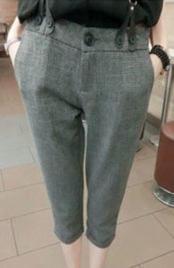 Image of Grey Mid Waist Cotton Capris