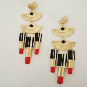 Image of Oversized Vintage-Inspired Lipstick Earrings