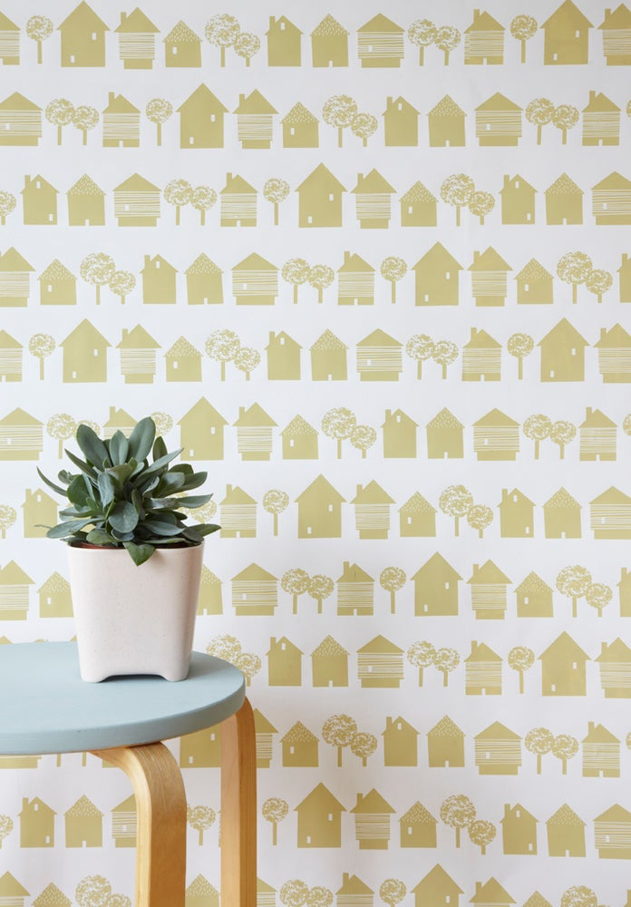 Image of Smalltown wallpaper in sandy yellow