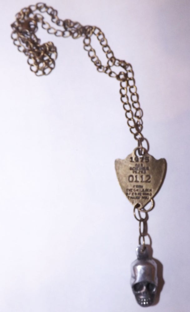 Image of 1975 bronze tag with Streling Silver 3D Skull  Necklace