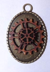 Image of Steampunk Wood Cog Pendant Necklace