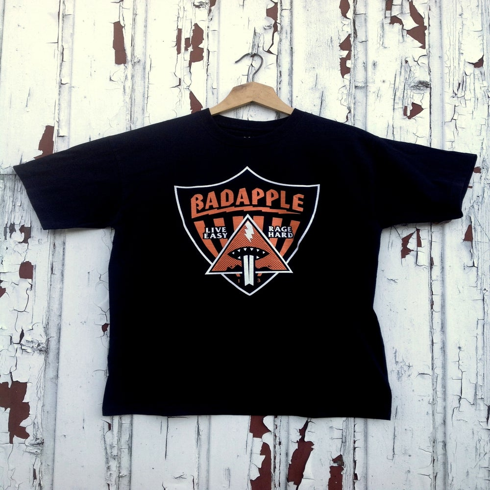 Image of Badapple Shield Tee Black/Print Orange 'n' White