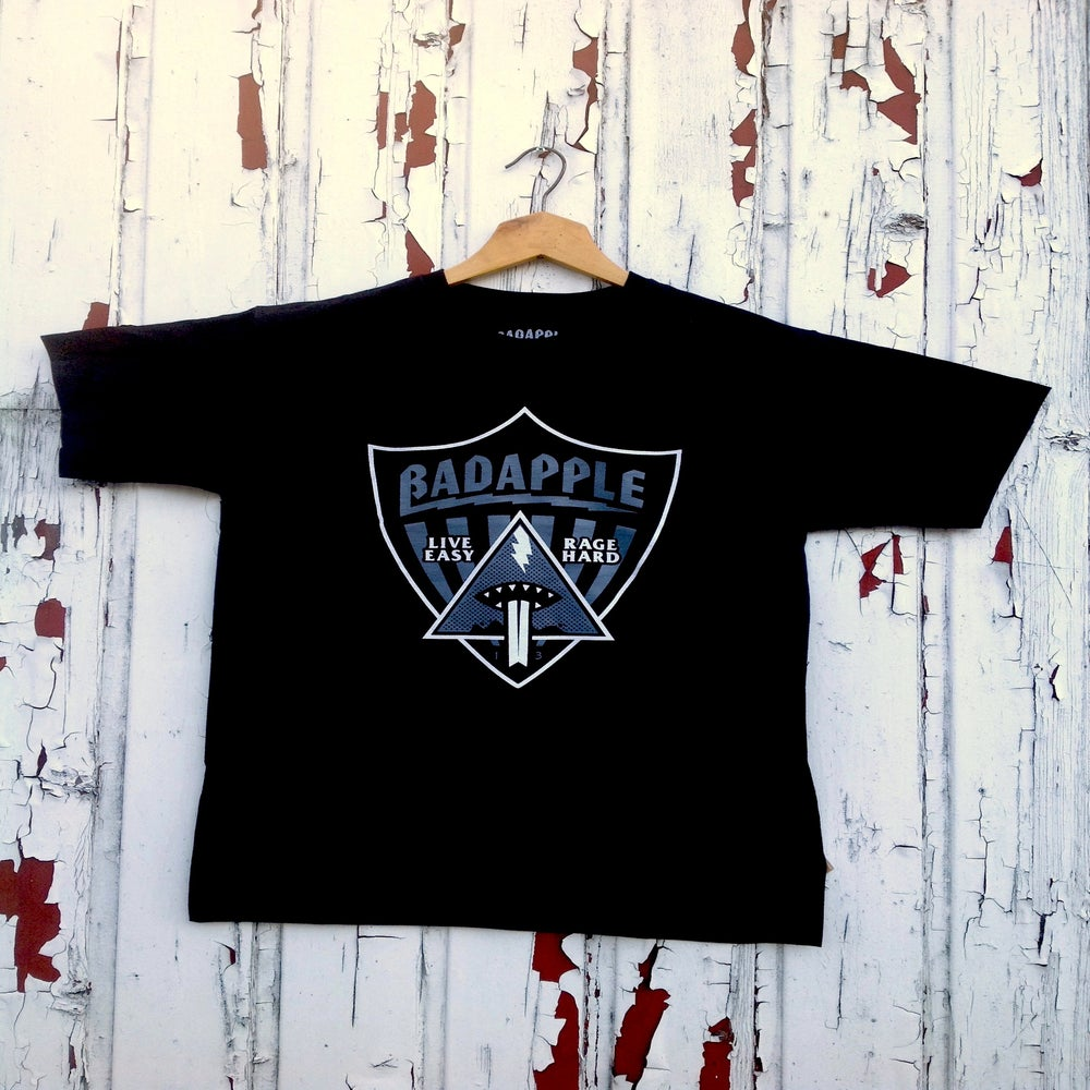 Image of Badapple Shield Tee Black/Print Grey 'n' White.