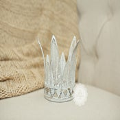 Image of White Shabby Chic Crown - NEWBORN Infant Size - NEW - Vintage Style