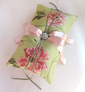 Image of Diana Peony Embroidered Silk Ring Bearer Pillow