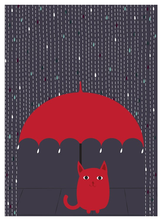 Image of Rain Kitty art print