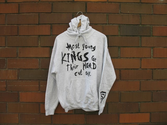 "Image of ""Most Young Kings Get Their Head Cut Off"" Hoodie (Ash Grey/Black)"