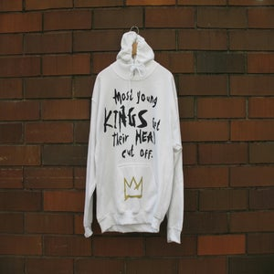 "Image of ""Most Young Kings Get Their Head Cut Off"" Hoodie (White/Black/Gold)"