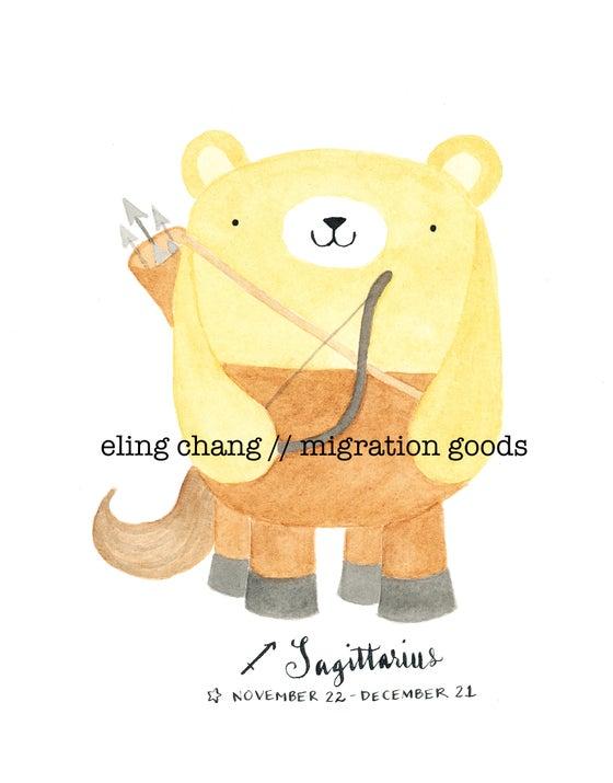 Image of sagittarius pudgy bear print