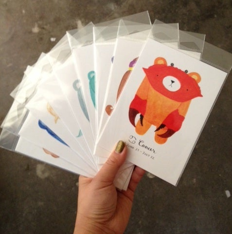 Image of pudgy bear zodiac postcards // mini print