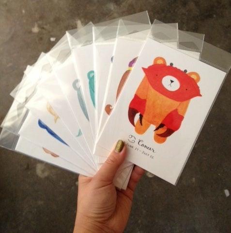 Image of pudgy bear zodiac postcards // mini print