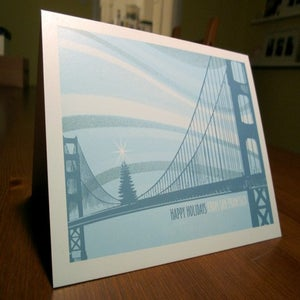 Image of San Francisco Golden Gate Bridge Tree Holiday Card - 1 Card / 1 Envelope