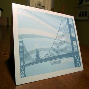Image of San Francisco Golden Gate Bridge Tree Holiday Card - 1 Card / 1 Envelope