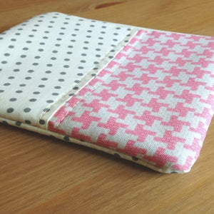 Image of Pink Houndstooth square zip pouch // Fancy Dot