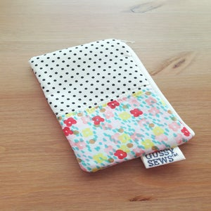 Image of Citron Floral medium zip pouch // Fancy Dot