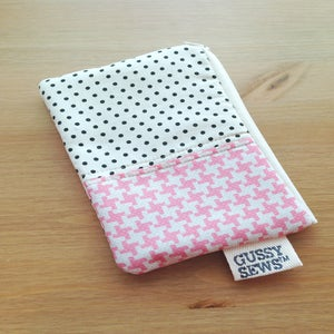 Image of Pink Houndstooth medium zip pouch // fancy dot